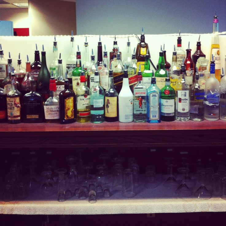 The bar setup at the Professional Bartending School