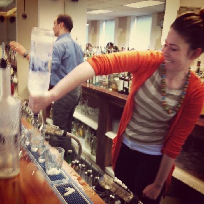 Lyssa pouring shots