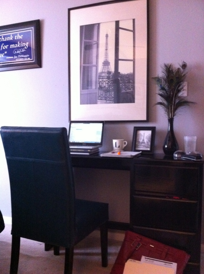 Lyssa's new zen office space at home. Lyssa started working from home twice a week and is forever grateful for her organization and managers for being so flexible.
