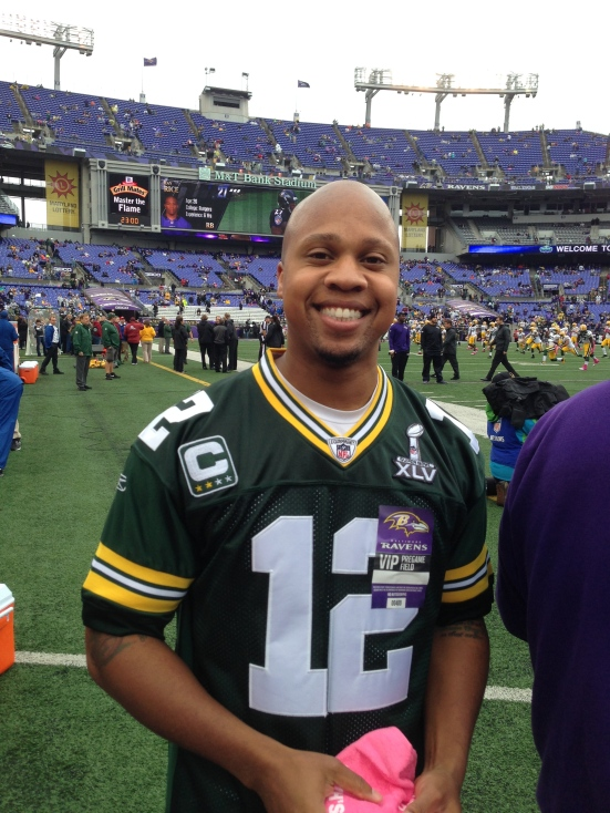 Kris went to a Packers/Baltimore game and went on the sideline
