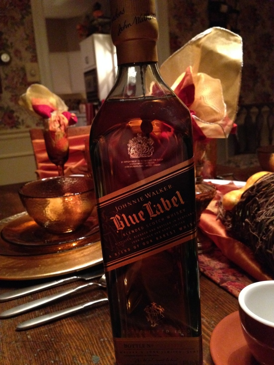 We drank Johnnie Walker Blue