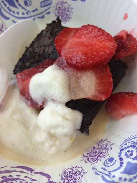 brownie with strawberries and ice cream